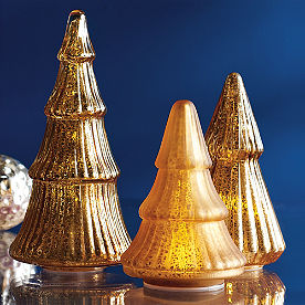 Mercury Glass LED Gold Tree, Set of Three