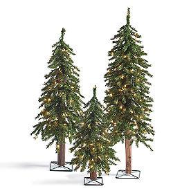 Pre-Lit Evergreen Alpine Tree, Set of Three