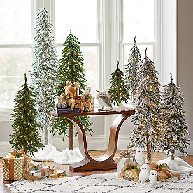 Pre-Lit Flocked Alpine Tree, Set of Three