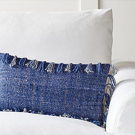 Solid Fringed Lumbar Pillow