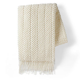 Popcorn Stripe Knit Throw