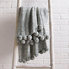 Space Dyed Throw with Poms