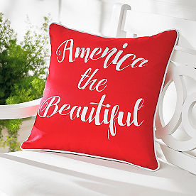 America Red Patriotic Outdoor Pillow