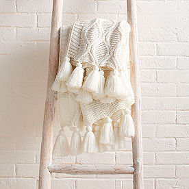 Diamond Knit Tassel Throw