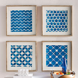 Block Print Wall Art, Set of Four