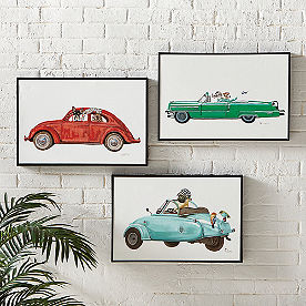 Dogs in Cars Wall Art