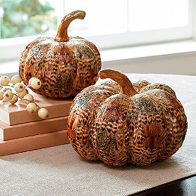 Feathered Pumpkins, Set of Two