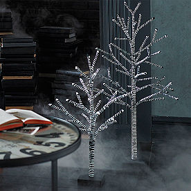 Black and White Striped Trees, Set of Two