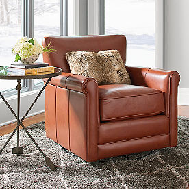 Clark Leather Swivel Glider