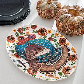 Fall Floral Turkey Platter