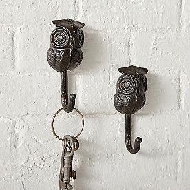 Owl Hooks, Set of Two