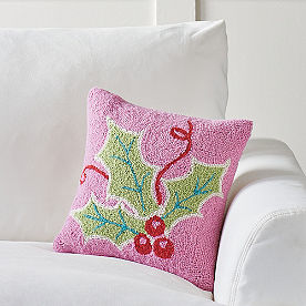 Merry and Bright Hook Pillow, Pink Holly