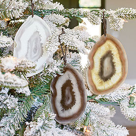 Glass Geode Ornaments, Set of Three