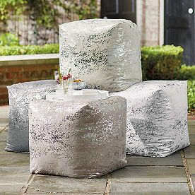 Outdoor Metallic Splatter Pouf