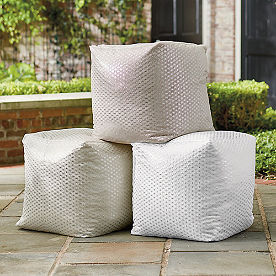 Outdoor Metallic Geometric Pouf
