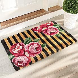 Striped Floral Doormat