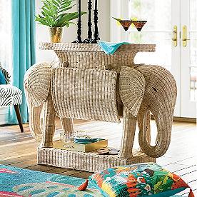 Iris Apfel Rattan Elephant Console Table