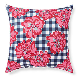 Sophie Checkered Floral Outdoor Pillow