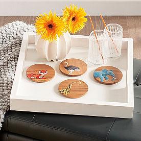 Iris Apfel Wooden Animal Coasters, Set of Four
