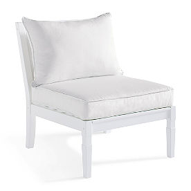 Charlie Armless Chair with Cushion in White Finish
