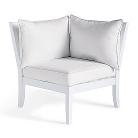 Charlie Corner Chair with Cushion in White Finish