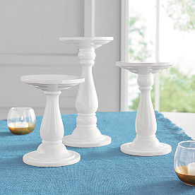 White Round Stands, Set of Three