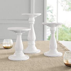 White Round Pedestal Stands, Set of Three