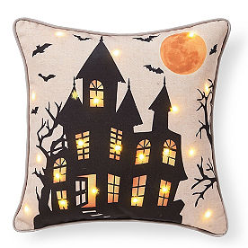 Haunted House Pillow with Lights