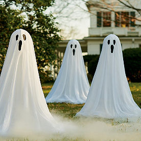 Staked Ghosts with Lights, Set of Three