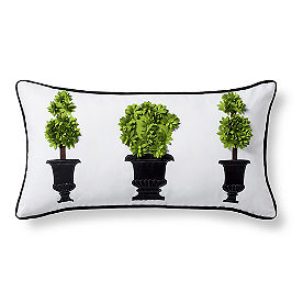 Topiary Outdoor Lumbar Pillow, Green