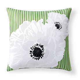 Selena Floral Stripe Green Outdoor Pillow