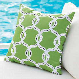 Selena Geometric Green Outdoor Pillow