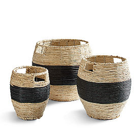 Harlow Stripe Baskets, Set of Three