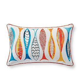Rainbow Fish Outdoor Pillow
