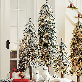 Pre-Lit Flocked Alpine Trees, Set of Three