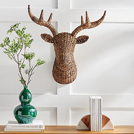 Woven Deer Head Wall Decor