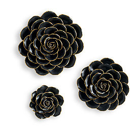 Black and Gold Resin Flowers