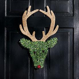 Boxwood Reindeer Swag