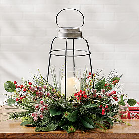 Magnolia & Berries Lantern Centerpiece