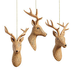 Deer Head Ornaments, Set of Three