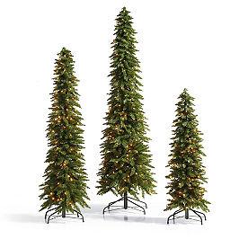 Down-swept Slim Pine Christmas Trees, Set of Three