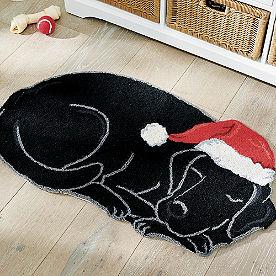 Holiday Black Lab Hooked Door Mat