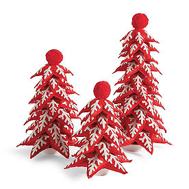 Felt Christmas Trees, Set of Three