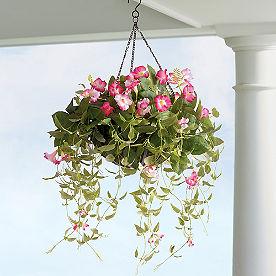 Pre-lit Trumpet Flower Hanging Basket