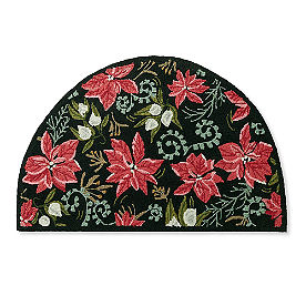 Poinsettia Half-Round Door Mat