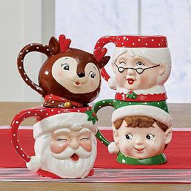 Christmas Mugs, Set of Four