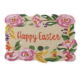 Happy Easter Scalloped Door Mat