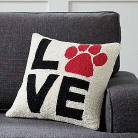 Love Paw Print Pillow