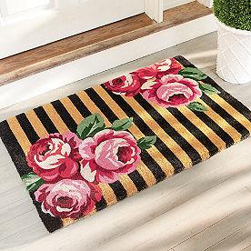 Striped Floral Door Mat