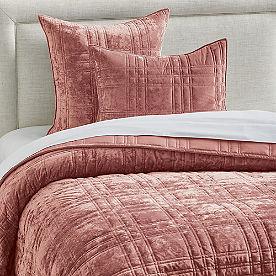 Plaid Stitched Velvet Quilt